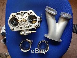 40mm Twin Choke Carburetor 40idf Volkswagen Fiat Porsche Manifold & Air Stacks
