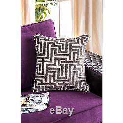 Claire Black and Purple Diamond Tufted Sofa Set Contemporary Modern Design