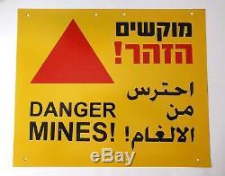 IDF Genuine Metal Sign DANGER MINES 3 Languages Israel/Jordan Border Used 9