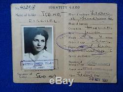Jewish Judaica Palestine Identity card 1947 Woman RENA FISCHEL Photo + IDF STAMP