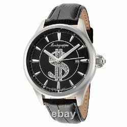 Montegrappa Men's IDF$WAIC Cash 42mm Black Dial Leather Watch
