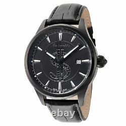 Montegrappa Men's IDF$WALC Cash 42mm Black Dial Leather Watch