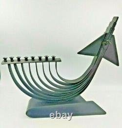 Old Large Hand made Hanukkah Menorah F15 Fighter Plane Israel IDF Israeli Army