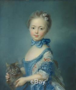 Old Master-Art Antique Oil Painting art Small girl and cat on canvas 20X24