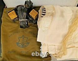 Rare Vtg Military Idf Zahal Tefillin & Prayer Shawl Talit & Bag Jewish 60's