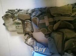 Vintage IDF Israel Army Combat Tactical Vest + Canteens Size Large