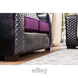 Canapé Tufté Claire Black Et Purple Diamond Set Design Contemporain