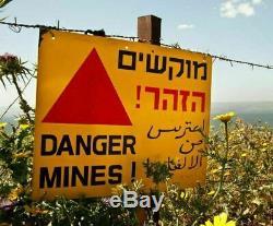 Idf Véritable Pancarte De Métal Danger Mines 3 Langues Israël / Jordanie Border Utilisé 9