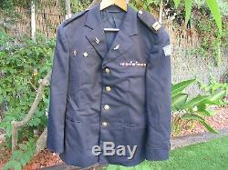 Isfel Idf La Veste Officier De La Robe Marine, Ranks, Rubans, Badges! Auth. Vieux