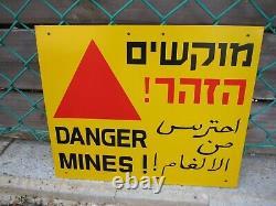 Israel Idf Army Danger Mines Signe Coloré! Au Revoir. Nouveau. Unique. Rare