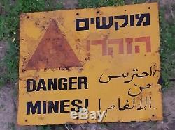 Israël Idf Danger Mines Signe Syrienne Border, 100% Authentique