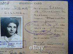 Judaica Juive Palestine Carte D'identité 1947 Femme Rena Fischel Photo + Timbre Idf