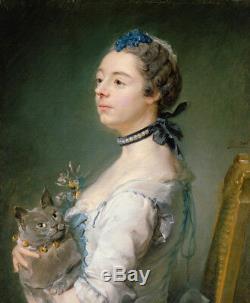 Old Master-art Antique Peinture À L'huile Fille Noblewoman Et Chat Sur Toile 20x24