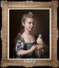 Old Master-art Portrait Peinture À L'huile Ancienne Petite Fille Pigeon Sur Toile 20x24