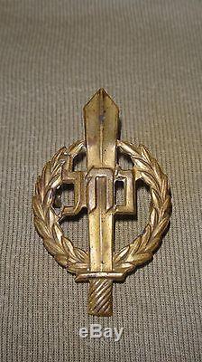 Vtg 1940 'rare Israel Idf Zahal Casquette En Laiton Doré Insigne Nachal Hébreu Militaire